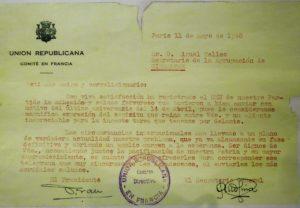 Carta del Comité en Francia de Unión Republicana dirigida al secretario de UR en Gibraltar.