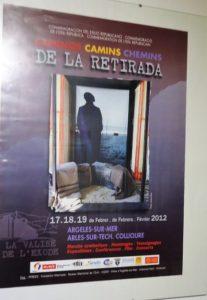 Un cartel sobre la Retirada, editado en 2012, en el Archivo de la Casa de la Memoria La Sauceda.