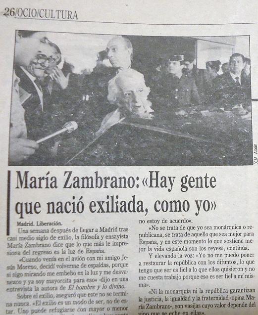 Fragmento del reportaje de Liberación sobre el regreso de María Zambrano desde el exilio.