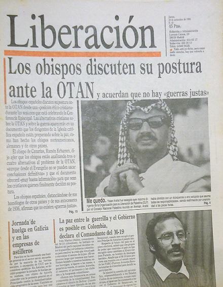 Portada de la edición del 29 de septiembre de 1984 del diario Liberación donde apareció el reportaje sobre el regreso de María Zambrano desde el exilio.