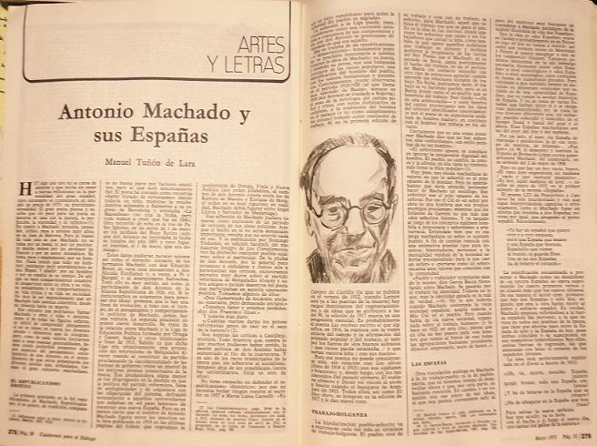 Artículo de Tuñón de Lara sobre Machado en Cuadernos para el Diálogo.