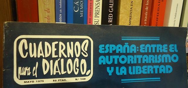 Cabecera de la revista Cuadernos para el Diálogo, revista integrada en el legado de Jesús Ynfante, en el Archivo de la Casa de la Memoria.