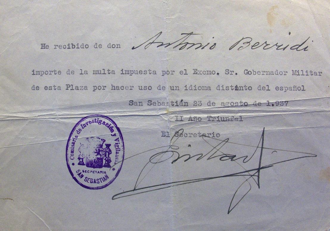 Documento sobre la represión del euskera.
