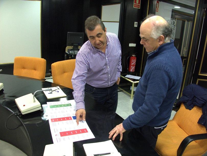 César Layana explica a Fernando Sígler la clasificación de los fondos de la Biblioteca del Instituto Navarro de la Memoria.