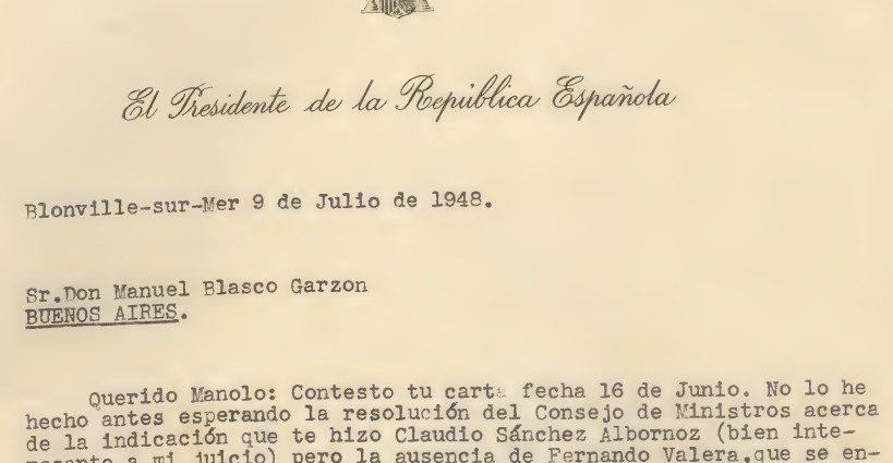Carta de Diego Martínez Barrio, desde su exilio francés, a Manuel Blasco Garzón, exiliado en Argentina (Archivo de la Universidad de Sevilla).