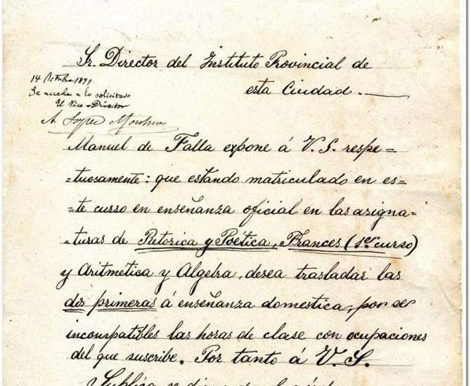 Documento de Manuel de Falla del fondo del instituto Columela (Archivo Histórico Provincial de Cádiz).