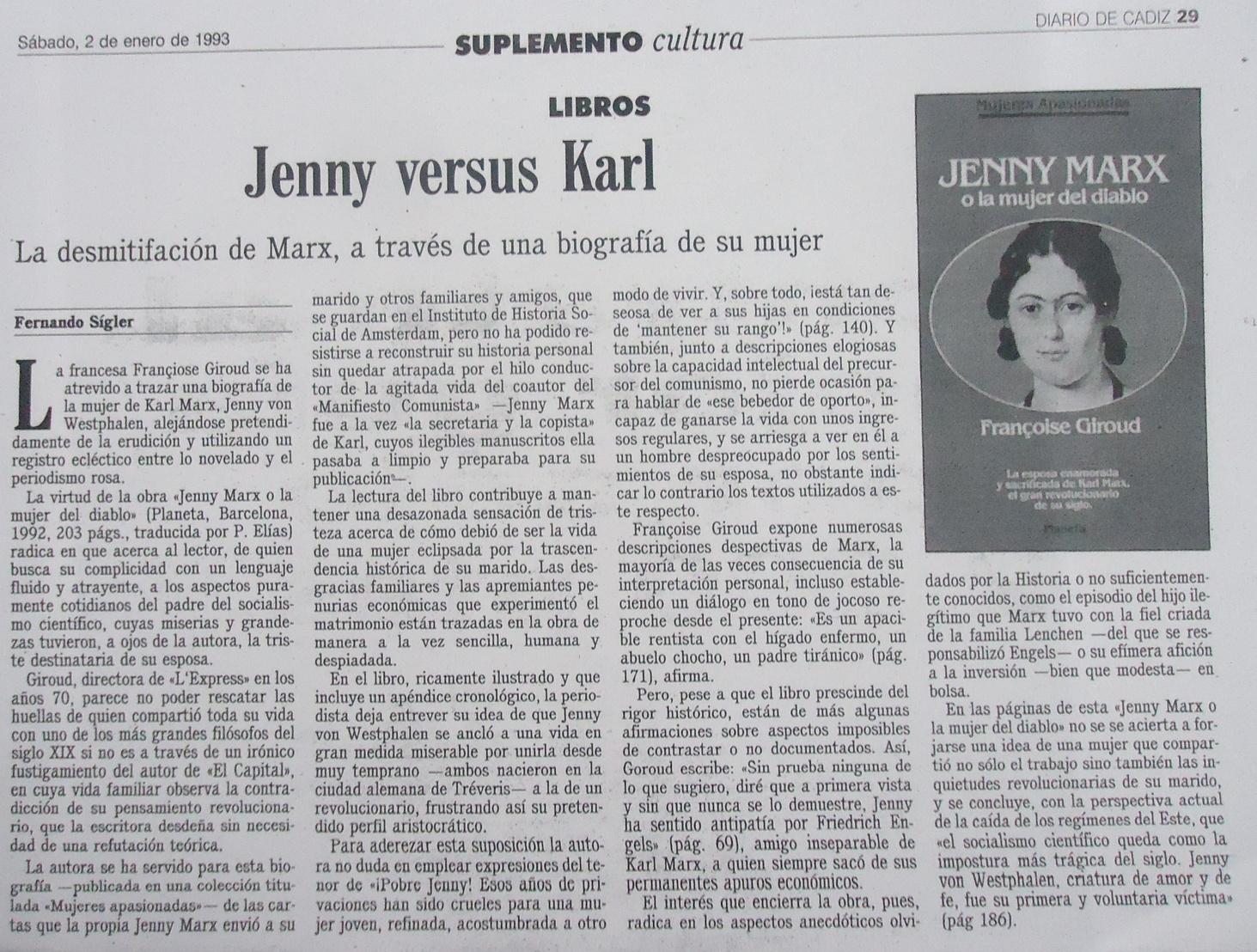 Reseña sobre la biografía de Jenny von Westphalen.
