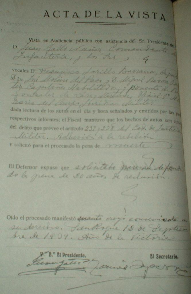 Documento del consejo de guerra.