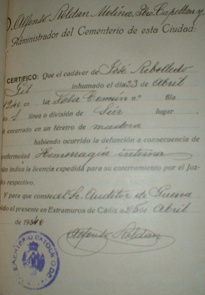 Certificado de defunción.