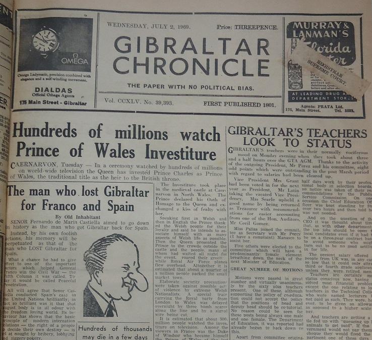 Gibraltar Chronicle, 2/7/1969, pág 1.