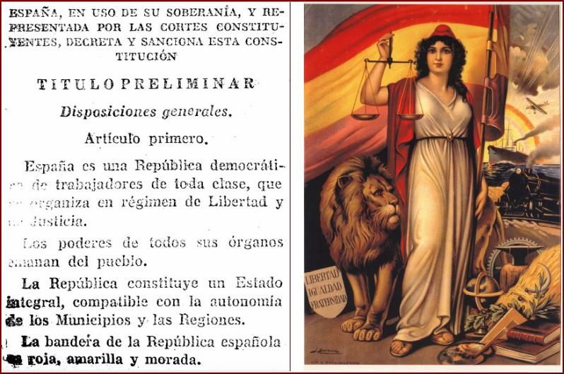 Artículo 1º de la Constitución de 1931 y alegoría de la República.
