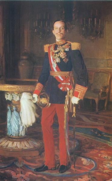Alfonso XIII, retratado por Luis Menéndez Pidal (Senado).