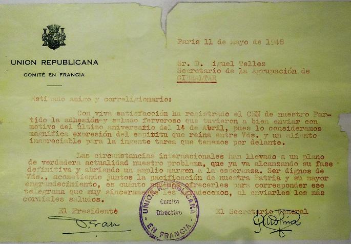 Carta del Comité de UR de Francia.