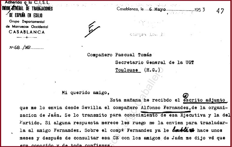 Carta de UGT de Casablanca a UGT de Toulouse, 1953.