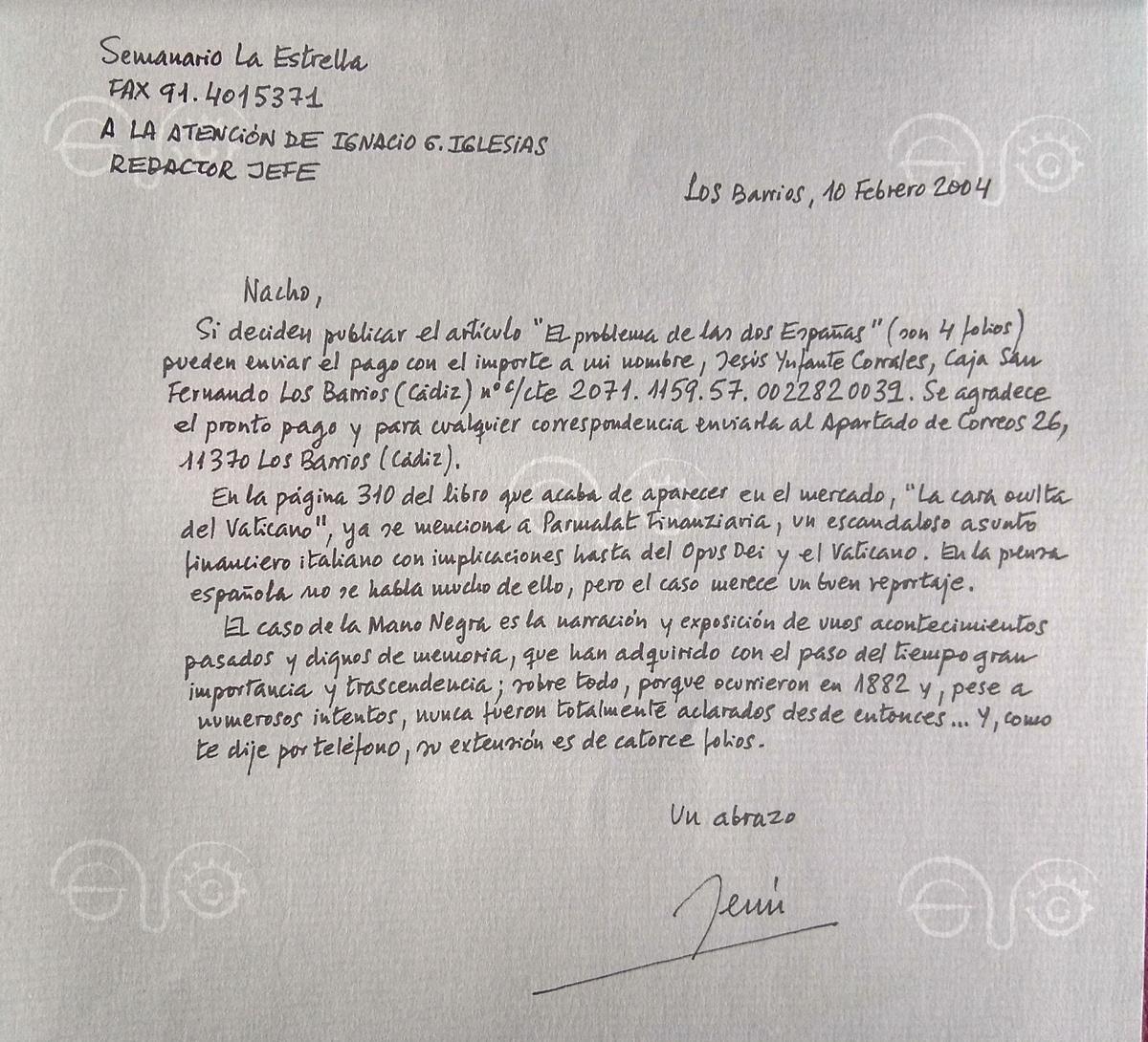 Carta de Jesús Ynfante a la redacción de La Estrella