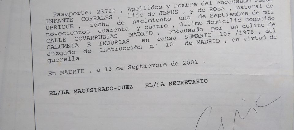 Requisitoria contra Jesús Ynfante