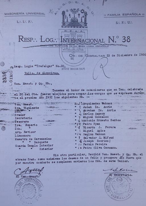 Plancha de Internacional.