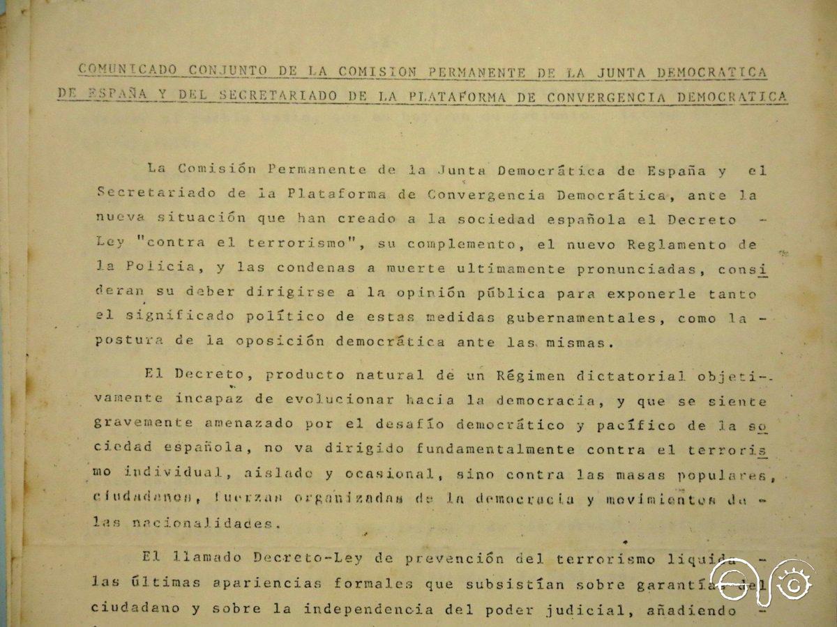 Comunicado conjunto de la comisión permanente de la Junta Democrática de España.