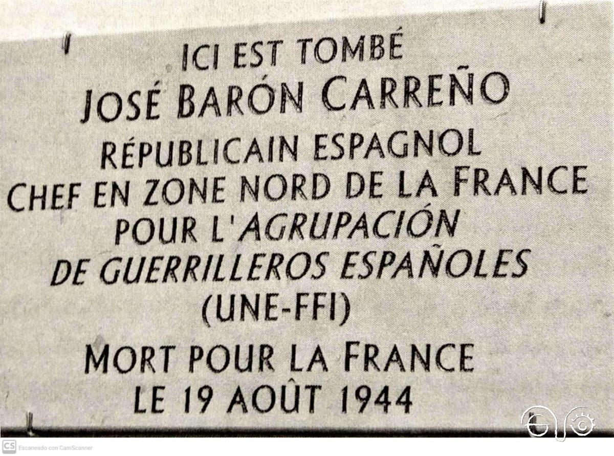 Placa en el lugar exacto donde fue herido mortalmente José Barón.