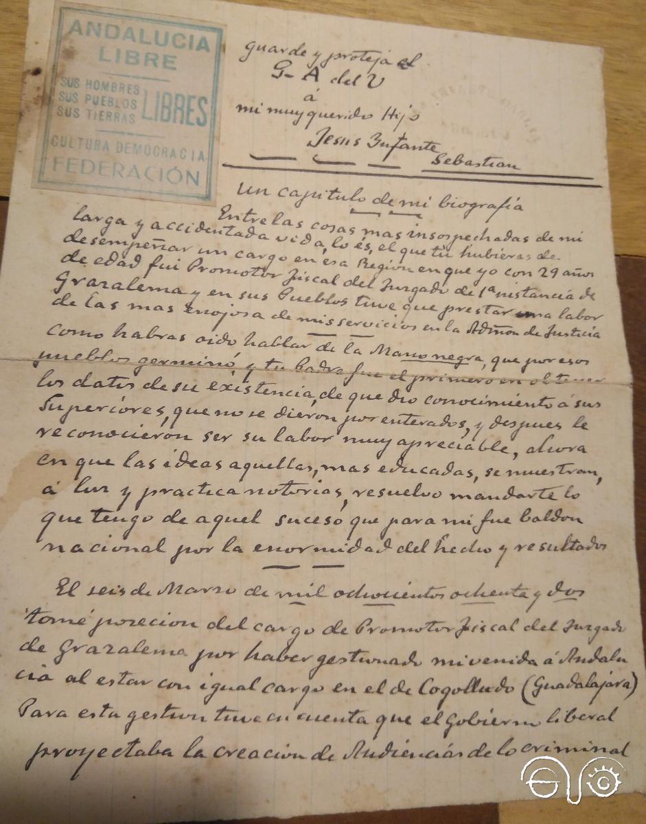 Carta manuscrita del abuelo de Jesús Ynfante.