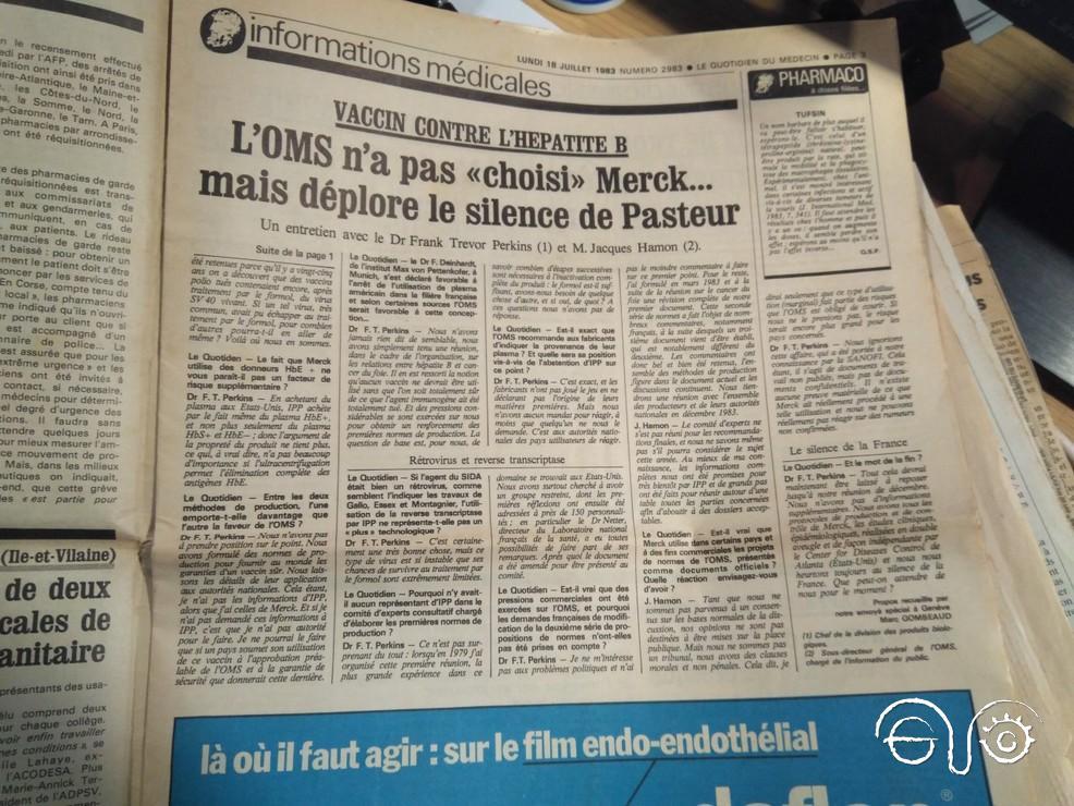 Entrevista con dos expertos de la OMS en el periódico francés guardado en el Archivo de la Casa de la Memoria.