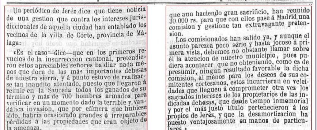Noticia sobre La Sauceda en El Gobierno, 23/10/1873.
