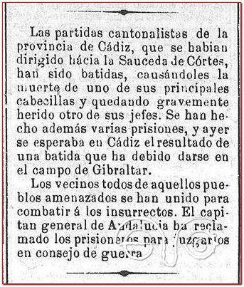 Noticia sobre La Sauceda en El Constitucional, 9/6/1874.