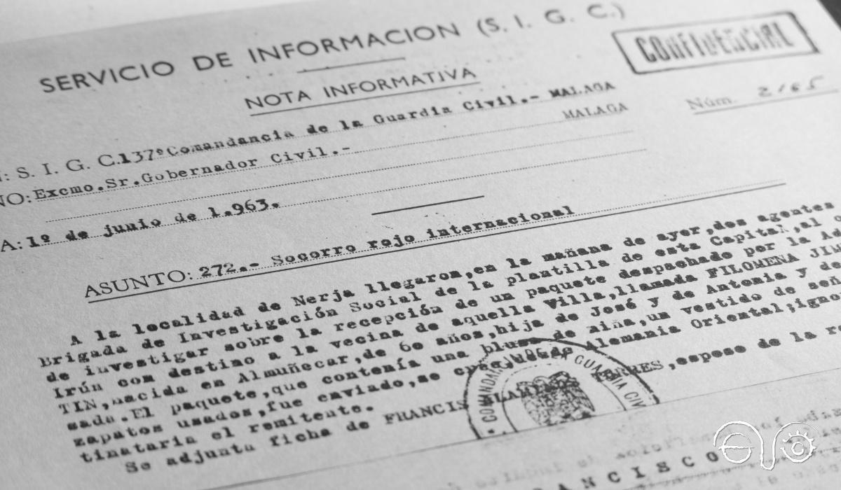 Nota confidencial del Servicio de Investigación de la Guardia Civil de Málaga.