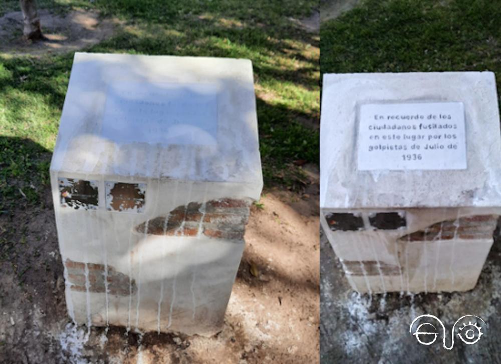 El monolito en memoria de represaliados del franquismo, vandalizado en Cádiz (Foto: La Voz del Sur).