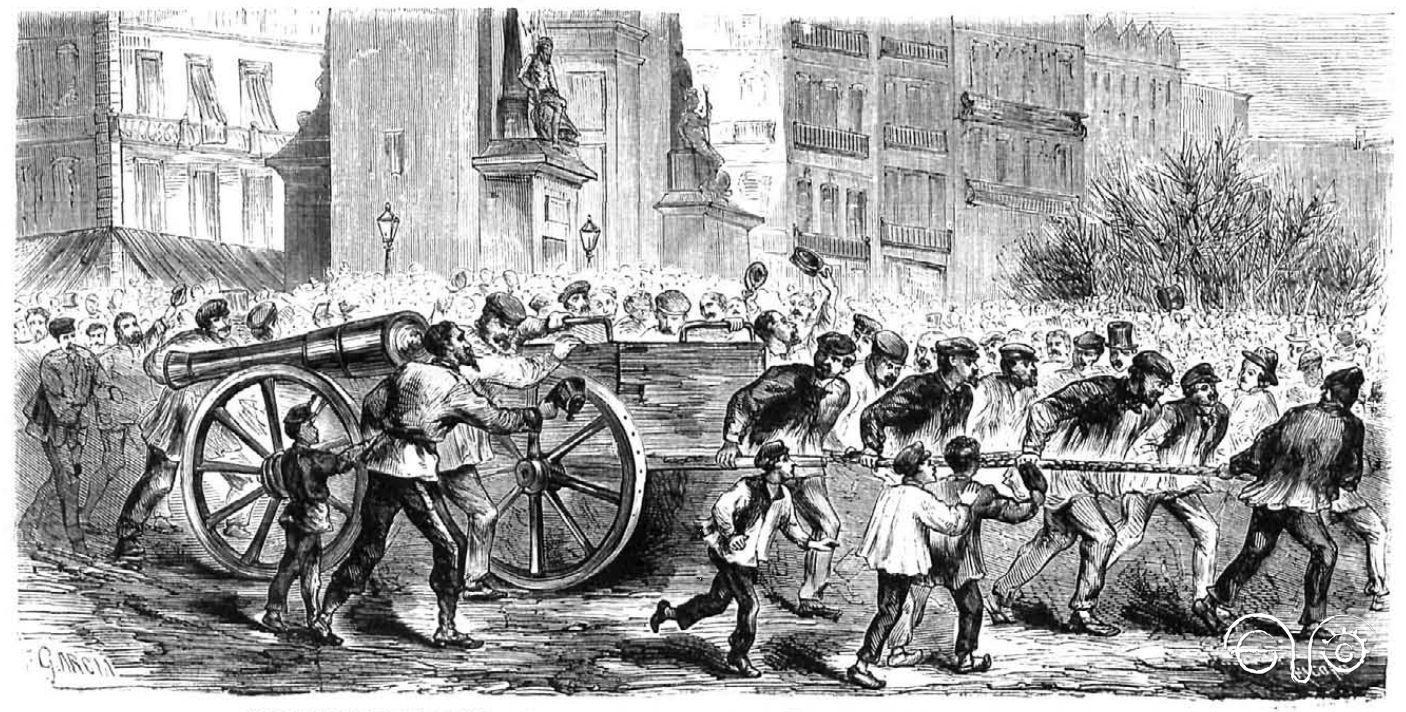 Los revolucionarios de París llevan los cañones a Montmartre (La Ilustración Española y Americana, 25/3/1871).