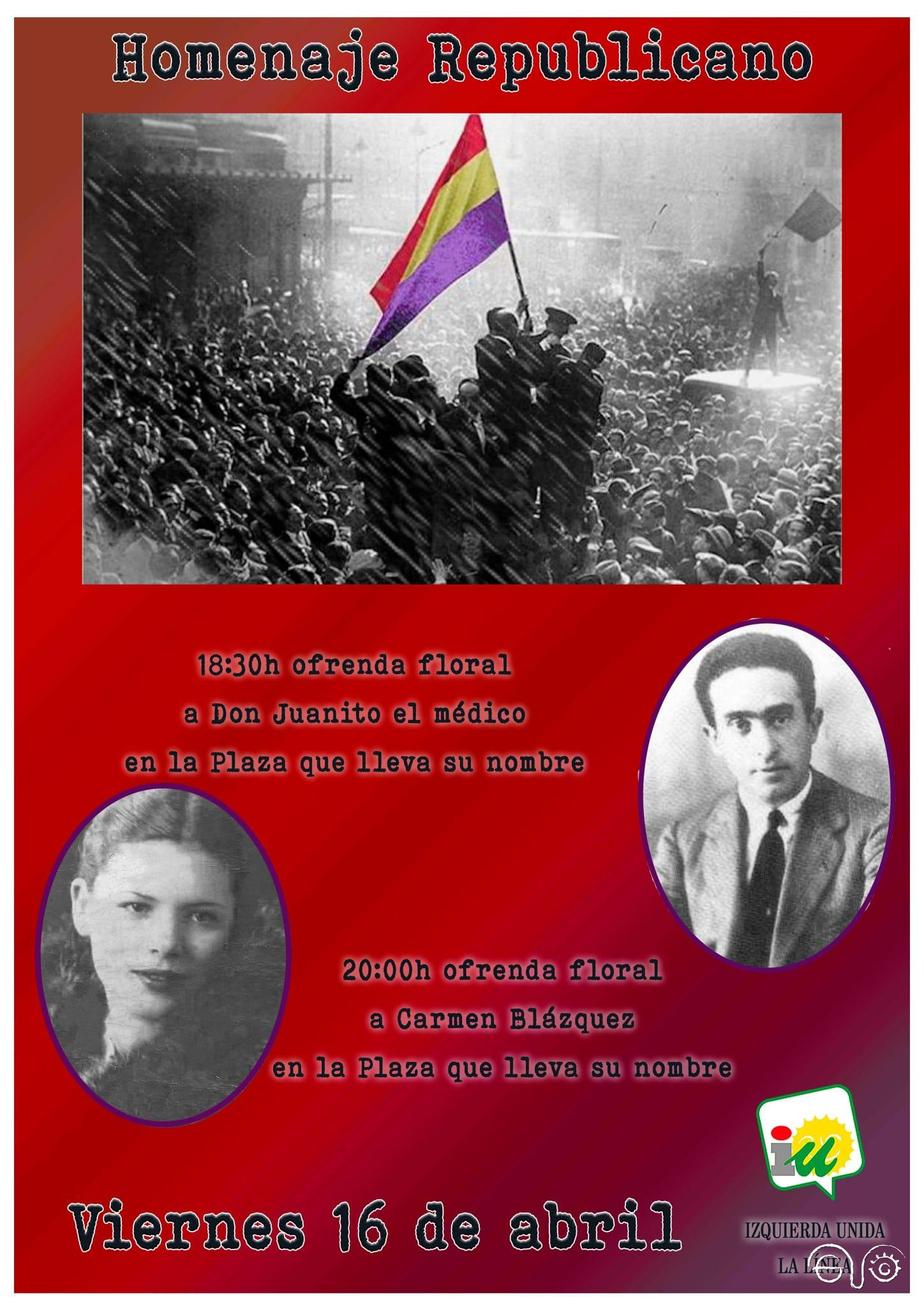 Cartel del homenaje republicano en La Línea.