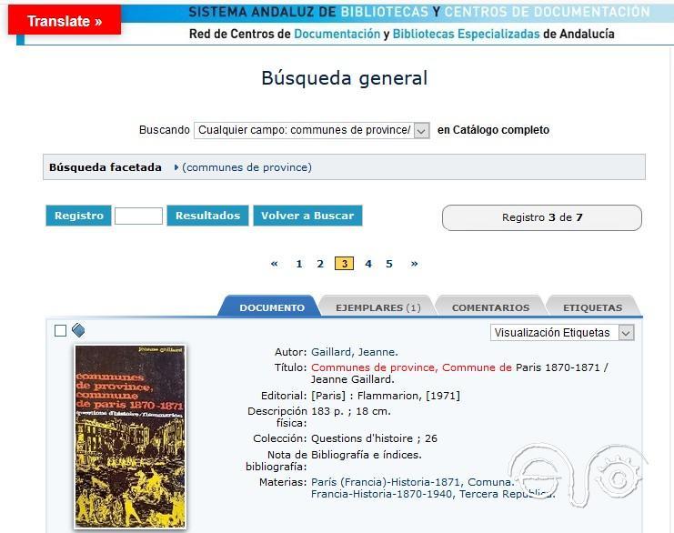 Registro del libro en el catálogo de la biblioteca.
