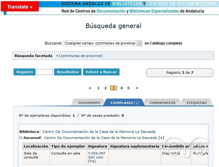 Registro del único ejemplar existente en la red de bibliotecas públicas de Andalucía.