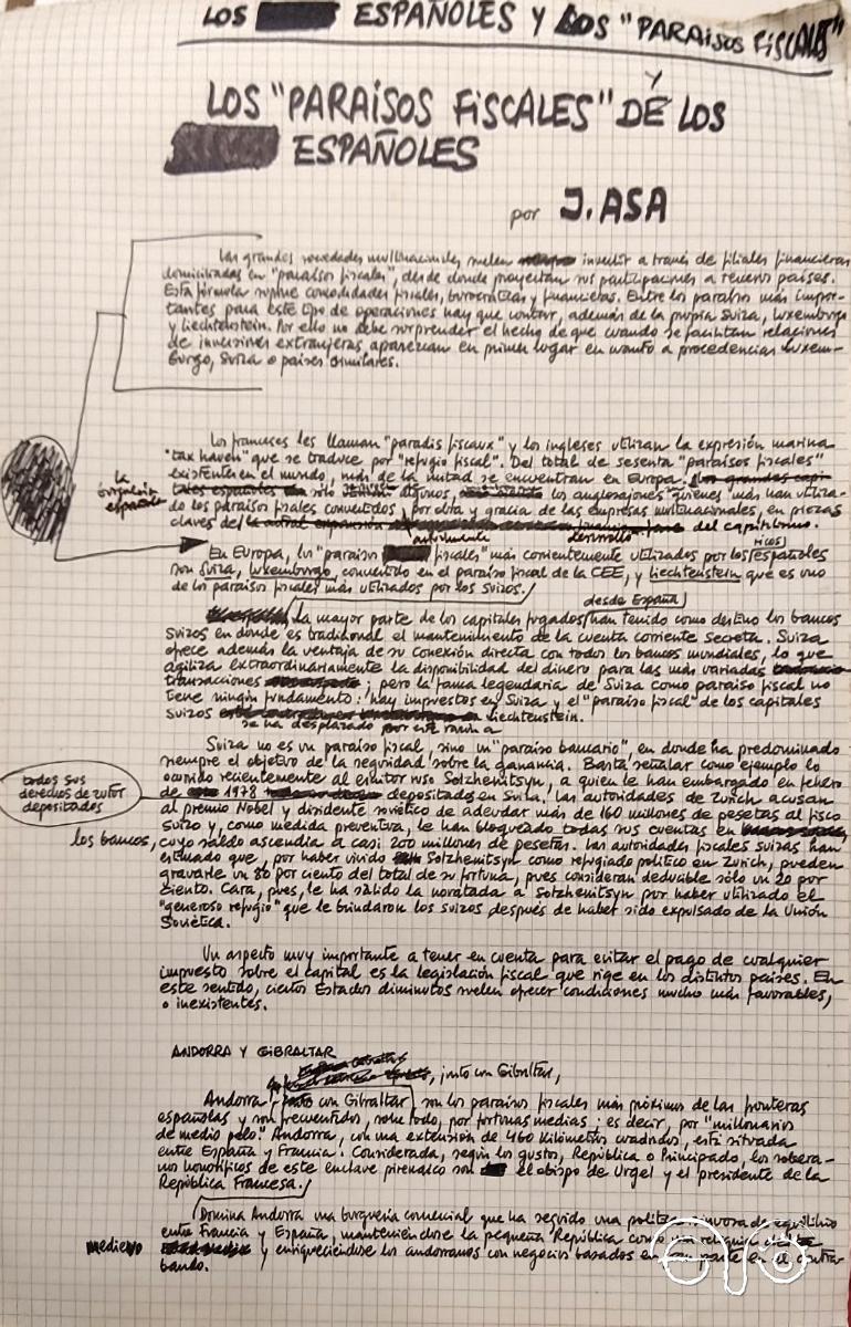 Paraísos fiscales J.ASA, letra y método de Jesús Ynfante.