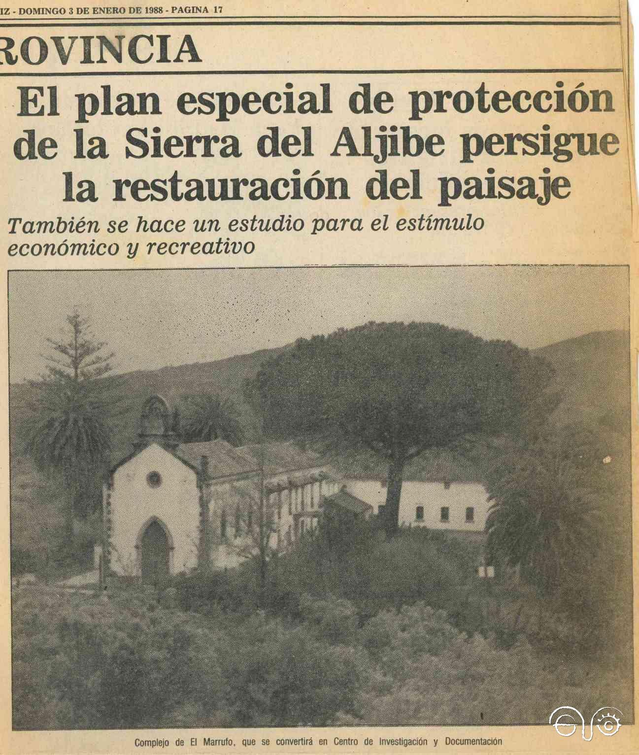 Recorte del reportaje de Diario de Cádiz, con fotografía del Marrufo, de 3 de enero de 1988.