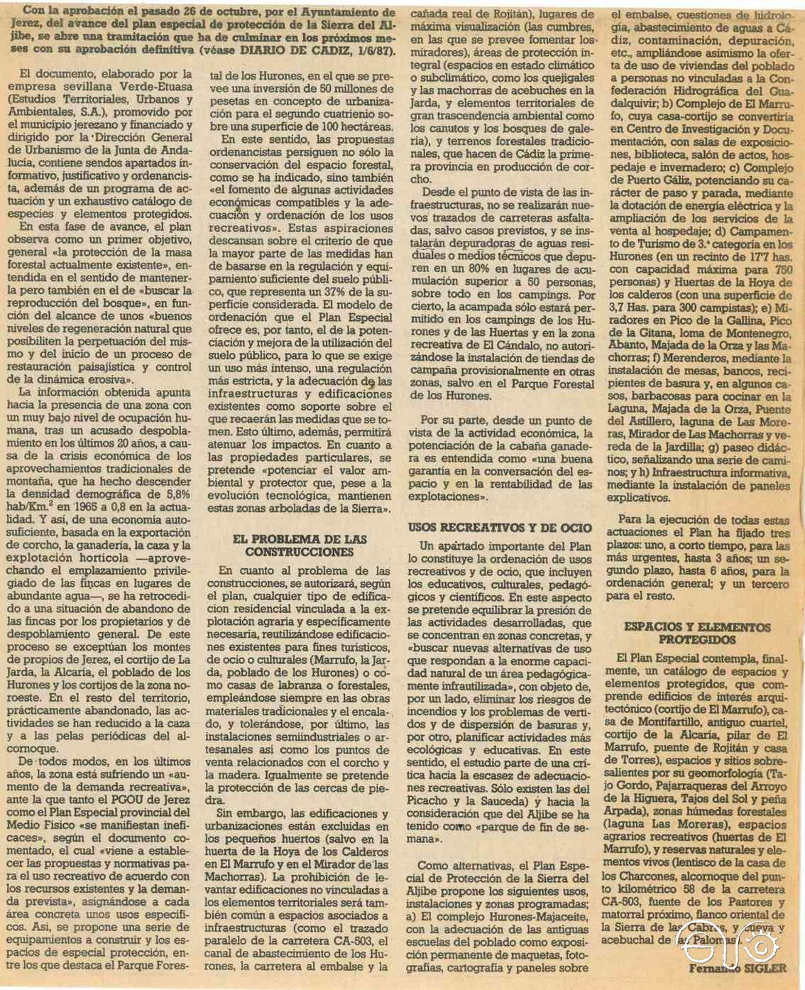 Texto del reportaje en el que se habla del Marrufo (Diario de Cádiz, 3/1/1988).