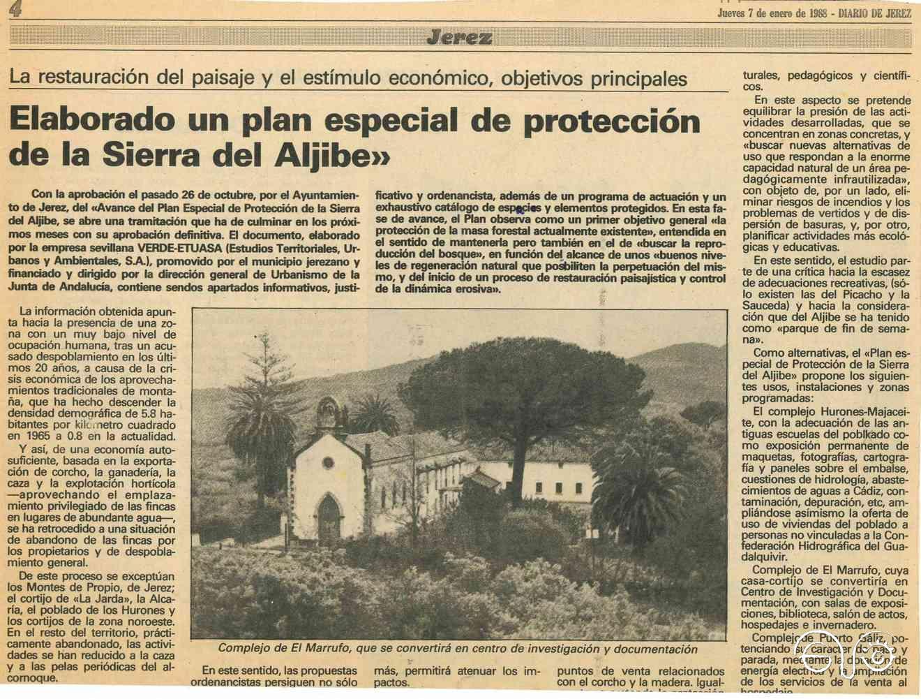 Recorte del reportaje de Diario de Jerez de 7 de enero de 1988.