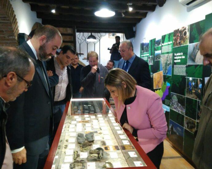 La presidenta de la Diputación de Cádiz, Irene García, y acompañantes, ante una de las vitrinas de la exposición permanente.