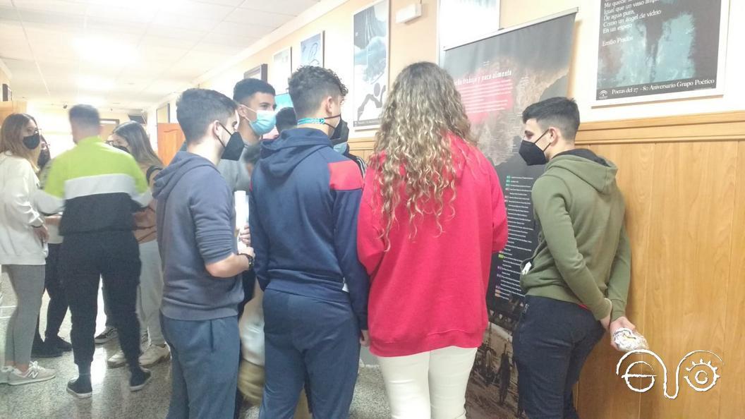 Alumnos, durante su visita a la exposición.