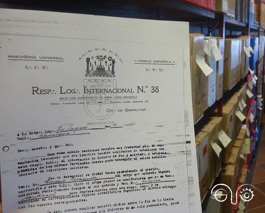 Documento de la logia masónica Internacional de Gibraltar, reproducido del Centro Documental de la Memoria Histórica de Salamanca en el Archivo de la Casa de la Memoria.