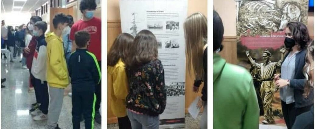 Alumnos del IES Los Remedios de Ubrique, ante la exposición.