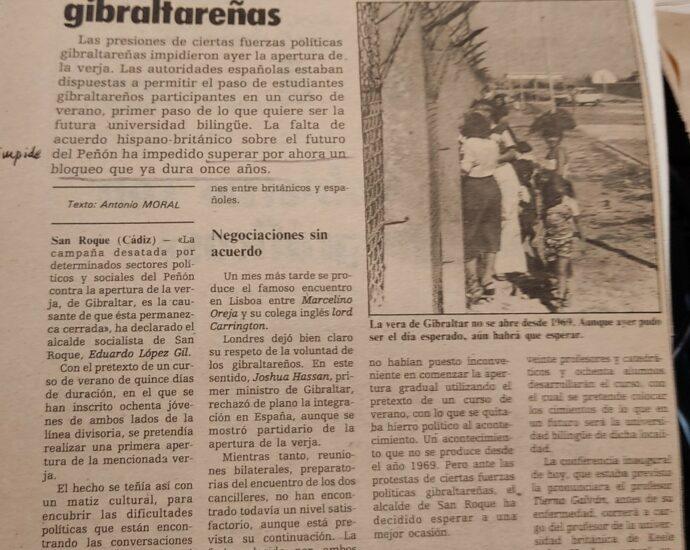 Recorte del 4 de agosto de 1980. La verja no se abrió por presiones gibraltareñas.