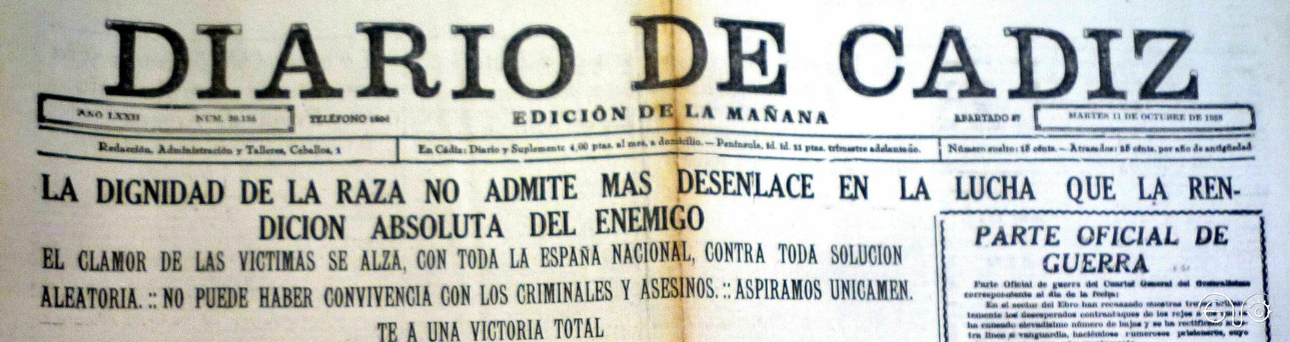 Diario de Cádiz, 10/10/1938.
