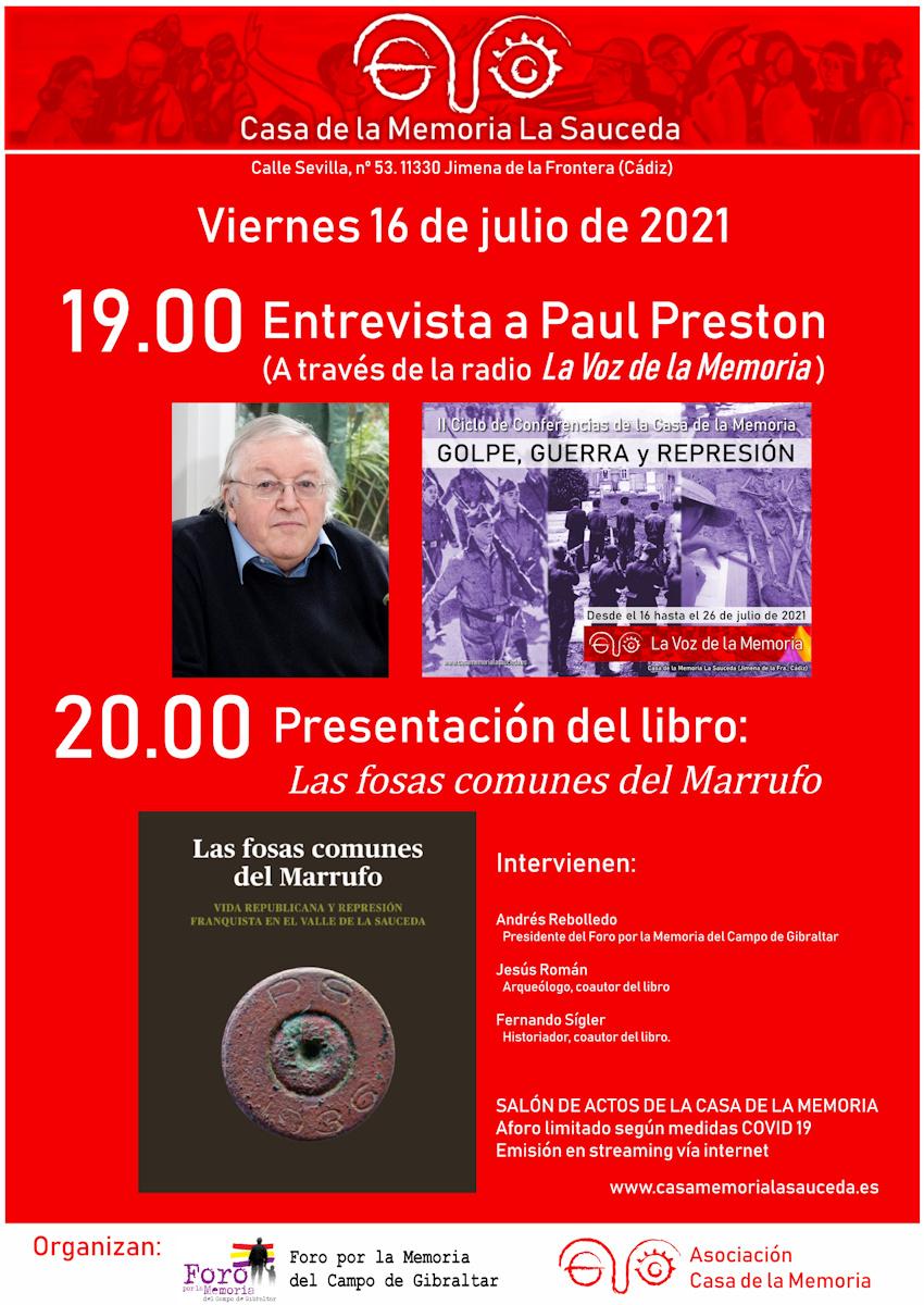 Cartel de actos Casa de la Memoria 16-07-2021
