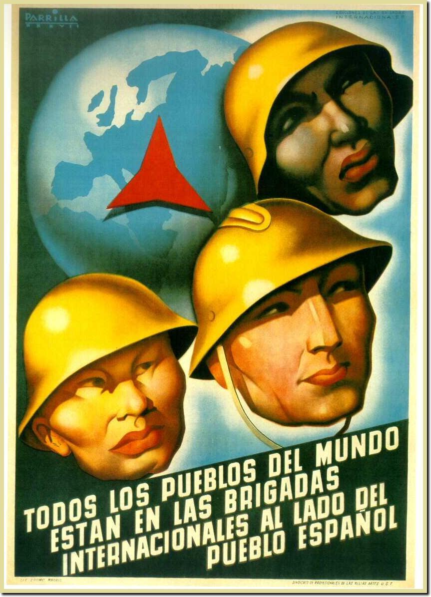 Cartel propagandístico sobre las Brigadas Internacionales.